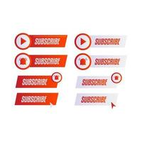 roter und weißer Abonnementknopf und Etikettensatz vektor