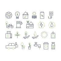 Ökologie Thin Line Icon Sammlung