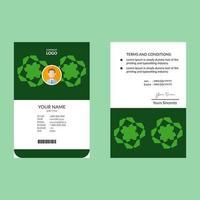 grüner Ausweis mit abstrakter geometrischer Form vektor