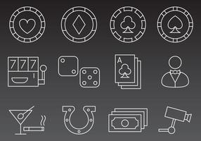 Casino linje ikon vektorer