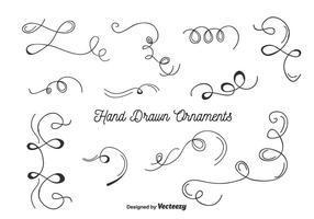 Handdragen Ornaments Set Vector