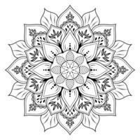 Blumenmandala mit Vintage Blumenumrissart vektor