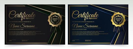 dunkelgrünes und blaues Zertifikatschablonendesign