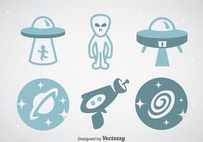 Space och Alien Ikoner Vektor uppsättningar