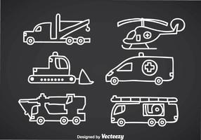 Notfallfahrzeug-Doddle-Vektoren