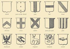 Gamla Stilteckning Heraldiska vektorer