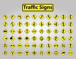 gelbe und schwarze Verkehrszeichen gesetzt vektor