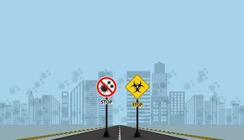 Warnung und Gefahr Coronavirus passieren keine Zeichen