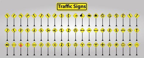 gelbe und schwarze Symbol Verkehrszeichen auf Pfosten gesetzt vektor