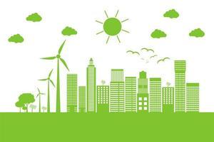 grünes Stadtbild mit Windkraftanlagen