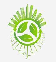 grüne Ökologiestadt und Windturbinen um Blätter