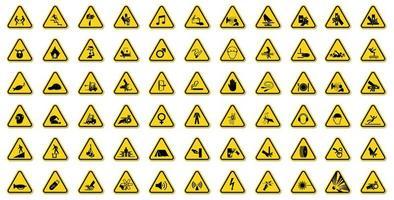 varningsteckenuppsättning med svarta ikoner i gul triangel