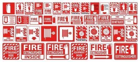 Feuerwehrschlauch und Feuerlöscher-Schild oder Etiketten-Set vektor