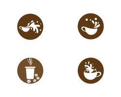 kaffekoppar i cirklar logotypuppsättning vektor