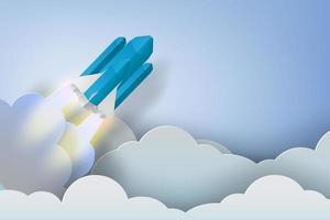 Rakete, die durch Wolkenpapierkunstdesign fliegt