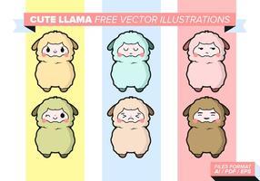 Söt Llama Gratis Vektor Illustrationer
