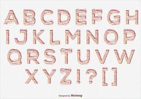 Gekritzel-Art-Alphabet-Satz vektor