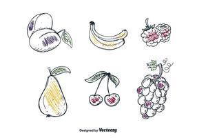 Handdragen frukt Set Vector