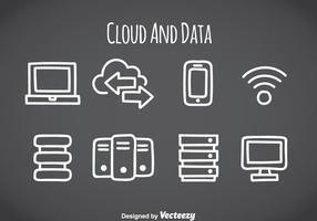 Cloud- und Datenelement-Icons vektor