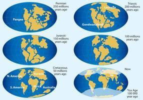 Kontinentala driftvektorkartor vektor