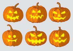 Läskiga pumpkins huvudvektorer vektor