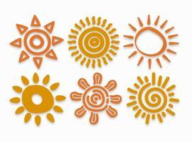 Handgezogene Sun-Vektoren