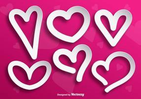 Weiße Herzform Vektoren