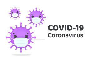 covid-19-virusceller som bär masker vektor