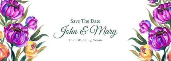 Hochzeit speichern Sie das Datum lila und gelbe Banner