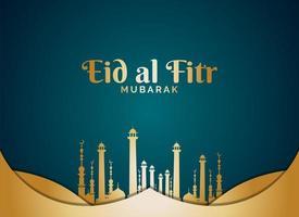 eid al fitr mit goldenen Moscheetürmen auf blaugrün