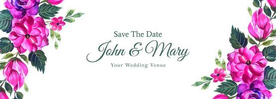dekorativa rosa spara datum bröllop banner vektor