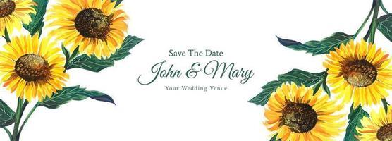 dekorativa solrosbröllop spara datumbannern vektor