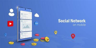 sociala nätverk koncept vektor