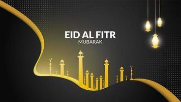 Eid al Fitr Schwarz und Gold Halbton vektor