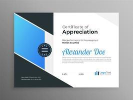 modernes Zertifikat blau schwarz Schablonendesign