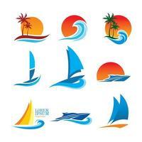 samling av temat logoer för havet
