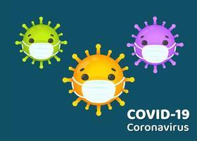 bunte Covid-19-Zellen mit Gesichtsmasken vektor