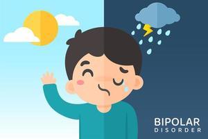bipolarer Mann mit Stimmungsschwankungen vektor