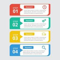 moderne bunte 4 Schritt Infografik Vorlage vektor