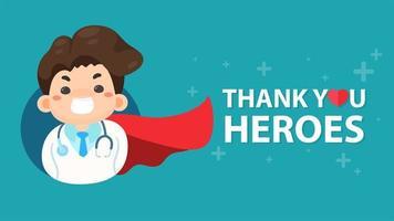 läkare som ler med röd superhjälte