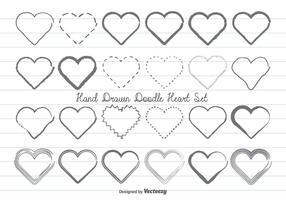 Handdragen Doodle Hearts Set vektor