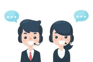 Mitarbeiter Call Center warten auf Kundenprobleme vektor