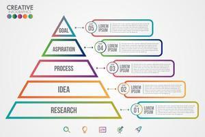 bunte Geschäftsinfografik des Pyramidendreiecks vektor