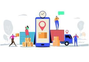 online-leveranskoncept med karaktärer som levererar lådor