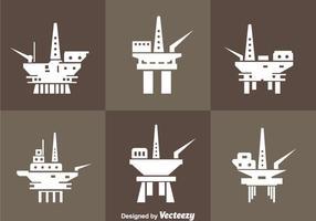 Oil Rig Offshore Ikoner vektor
