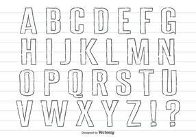 Handdragen penna stil Alfabet Set vektor
