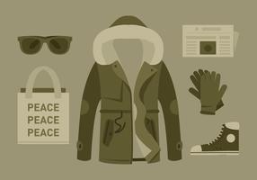 Vector Hipster Coat och tillbehör