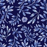 Aquarellblau Blumen nahtloses Muster