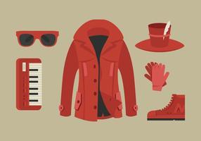 Red Coat och Accessory Vectors