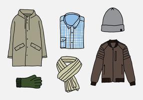 Winter Männer Kleidung Vektoren